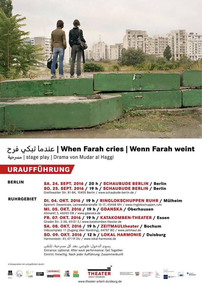 """Das Bild zeigt ein Plakat zur Aufführung des Stückes """"Wenn Farah weint"""" (ZEITMAULtheater Bochum)."""