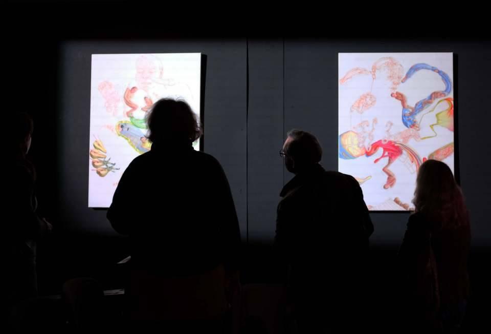 Besichtigung von Werken der Künstlerin Bettina van Haaren im Rahmen der Philosophischen Gespräche im ZEITMAULtheater Bochum