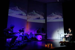 Ausschnitt aus dem gemeinsamen Auftritt von WireWagna mit der Bildhauerin Dorothee Schäfer (ZEITMAUL-Theater Bochum)
