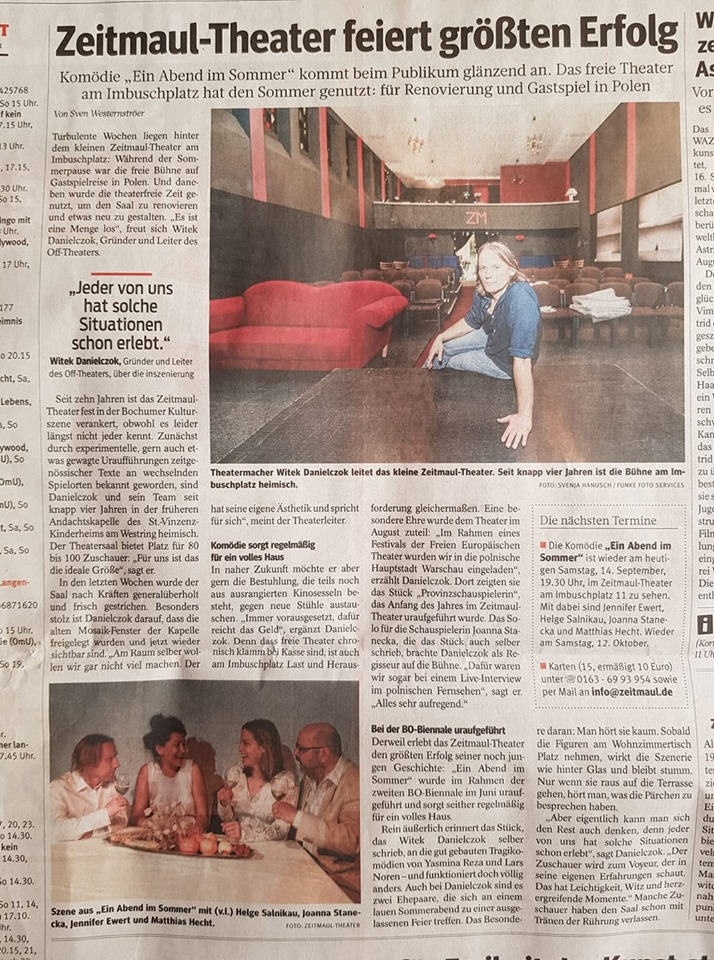 """WAZ-Artikel über das Stück """"Ein Abend im Sommer"""" (ZEITMAUL-Theater Bochum)"""