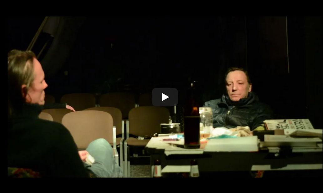 """Ankündigung Video von einem Auftritt von Krzysztof Gruse im Rahmen der Reihe """"BESUCHE"""" (ZEITMAUL-Theater Bochum)"""